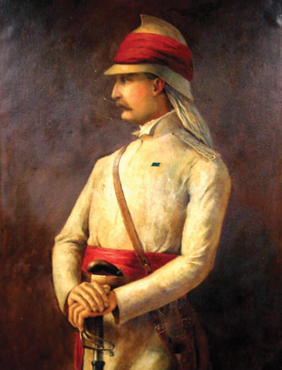 A painting of Brevet Major William Stephen Raikes Hodson depicted wearing an air tube-style helmet.