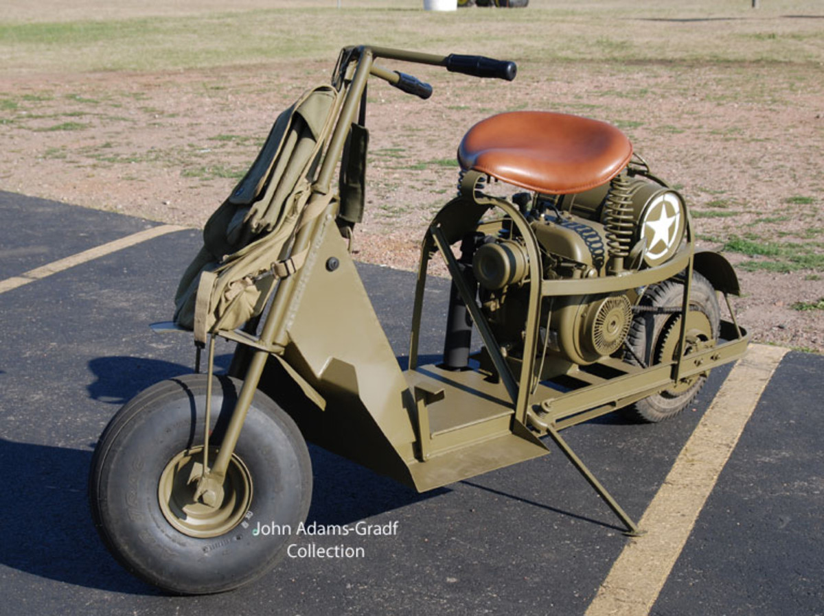 This Cushman Scooter is a replica. It was built by Randy and Ann Lamers and sold at the show.Randy and Ann are looking into making more for others who want one.