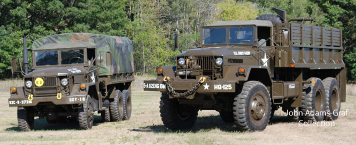 The big and small of it: That's is 17-year Brad Nitzke's 1970 M35A2 and Mark Austin's very scarce 10-ton M125 cargo.