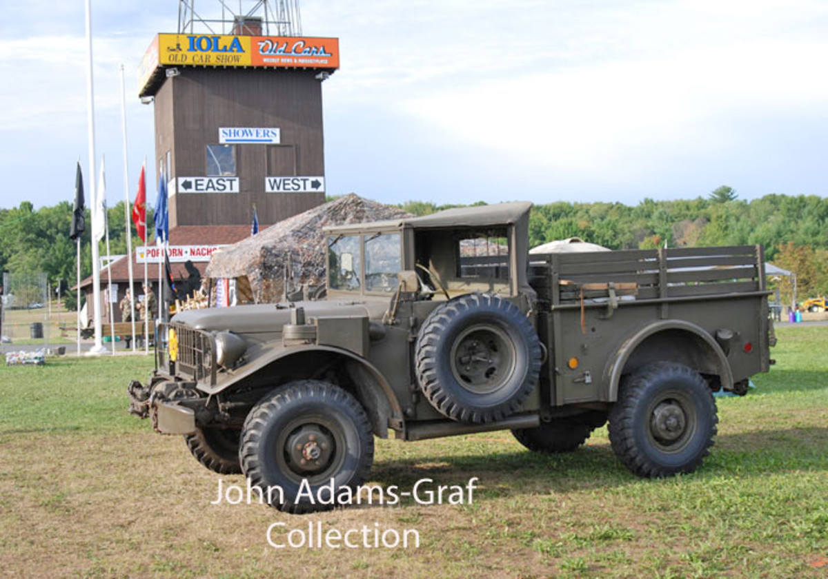 "M37B1 owned by Al Allen under the locally famous ""Iola Car Show"" tower."