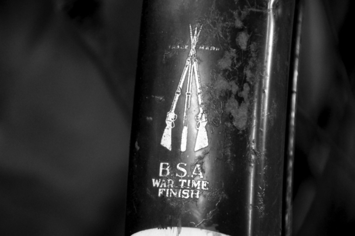 """The BSA """"War Time Finish"""" decal featuring the company's piled Martini rifles was applied to the rear fender and vertical frame post (shown here)."""