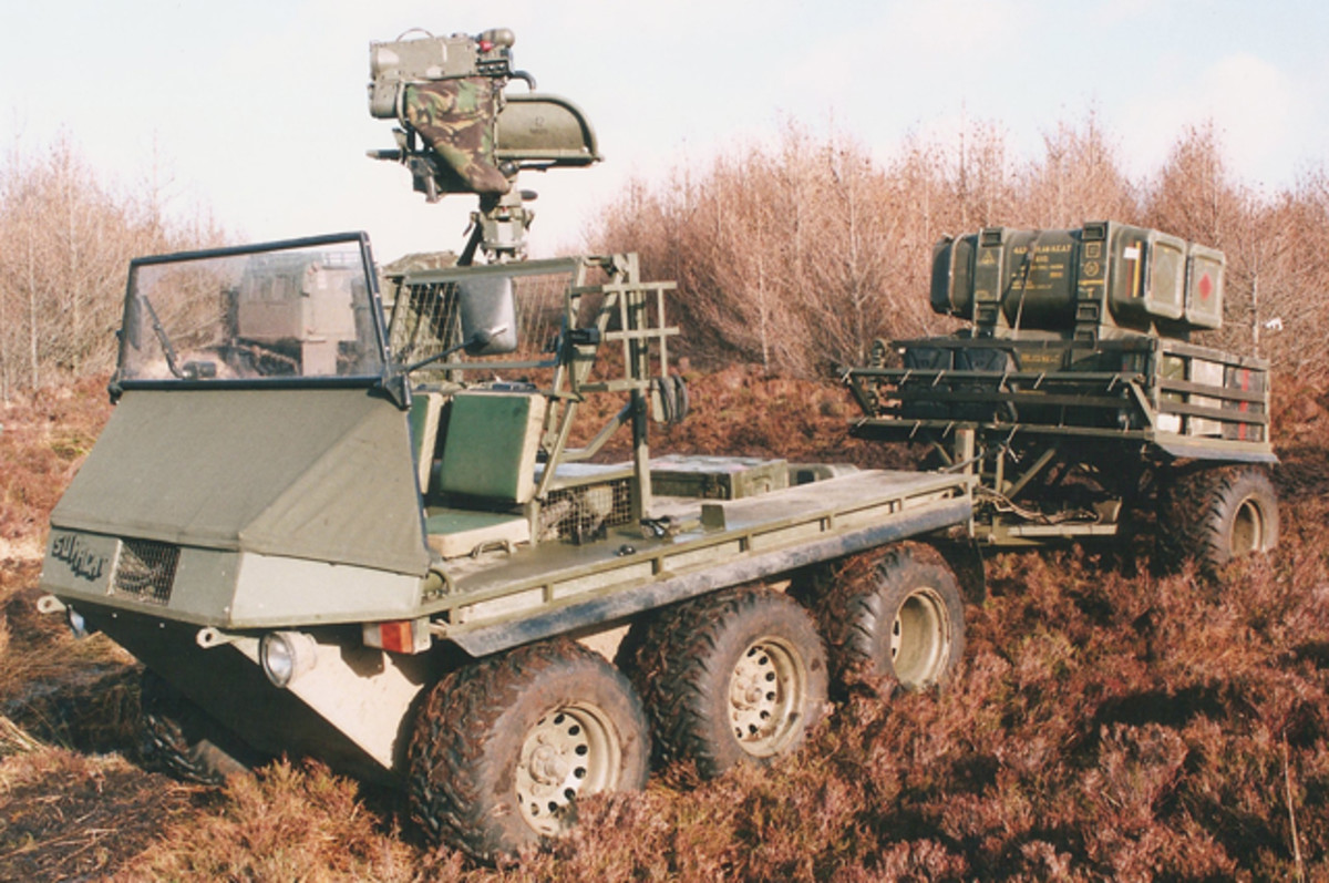The Supacat was a basic, but versatile, platform capable of mounting an anti-tank guided weapon systems such as Milan with its 2,100-yard capability. The trailer allowed it to carry additional missiles. The Supacat could have been fitted to carry other similar missiles such as the TOW or French HOT.