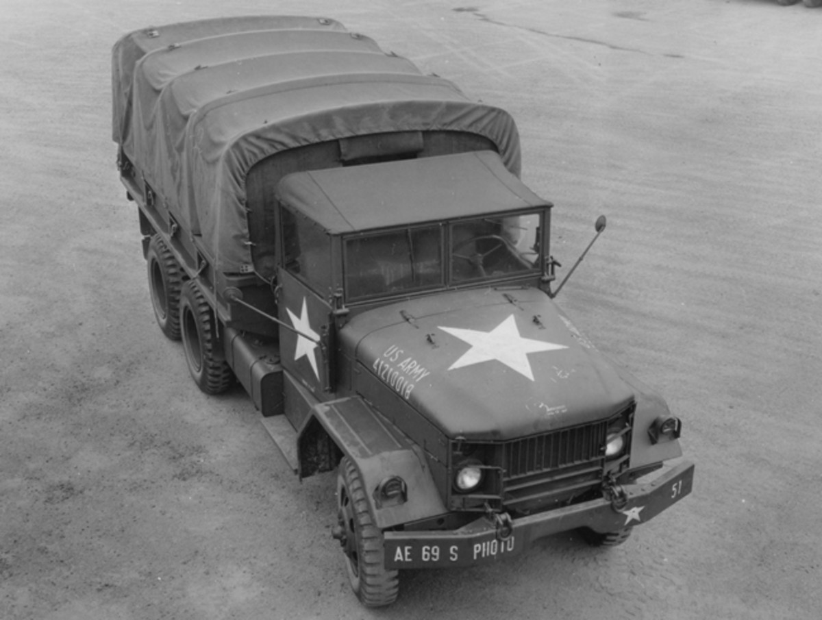 When the G-742 series trucks, typified by the M35, entered production, the US Army used an eight-digit registration number system. Though critical to the army for record-keeping purposes, the registration number itself provided little useful information to the casual observer. However, examination of hundreds of trucks seems to point to registration numbers beginning with 412, like this truck at Kaiserslautern, Germany, were built by Reo, while those registration numbers beginning 411 were built by Studebaker.