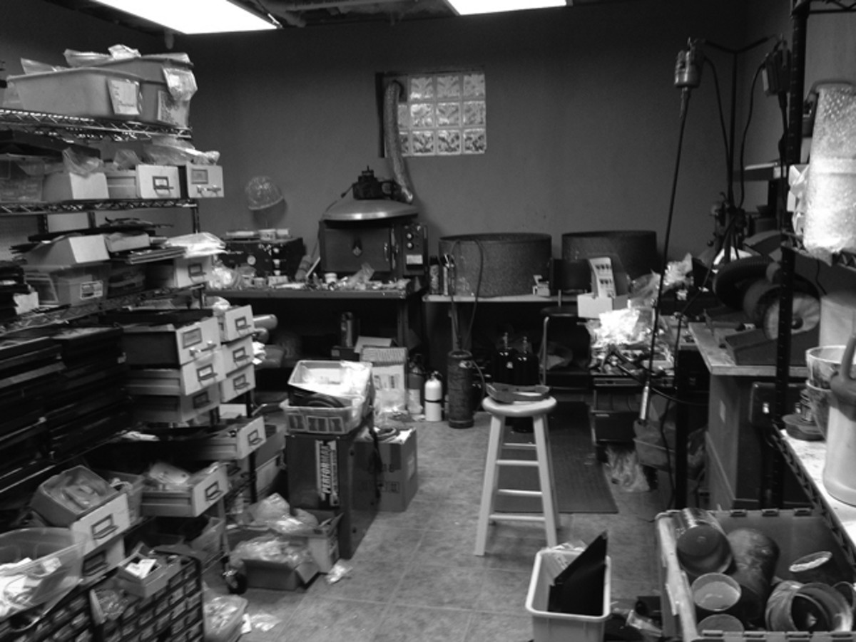 "This is Joe's workshop. Ask his wife and she will tell you, ""Joe knows where everything is!"""