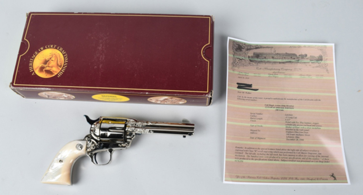 Colt .45 single-action army revolver produced in 1990, cutaway special edition, one of only seven made in its particular configuration; comes with Colt historian letter, original box and papers. Estimate: $5,000-$7,000 . Image - Milestone Auctions