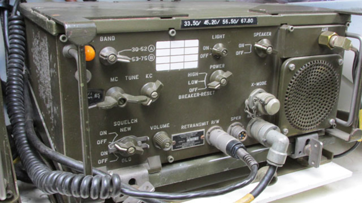 The RT-524 is the most common type of radio in the VRC-12 series radios. It is capable of transmitting and receiving on frequencies from 30- 76 MHz and can be used on the six-meter radio band.