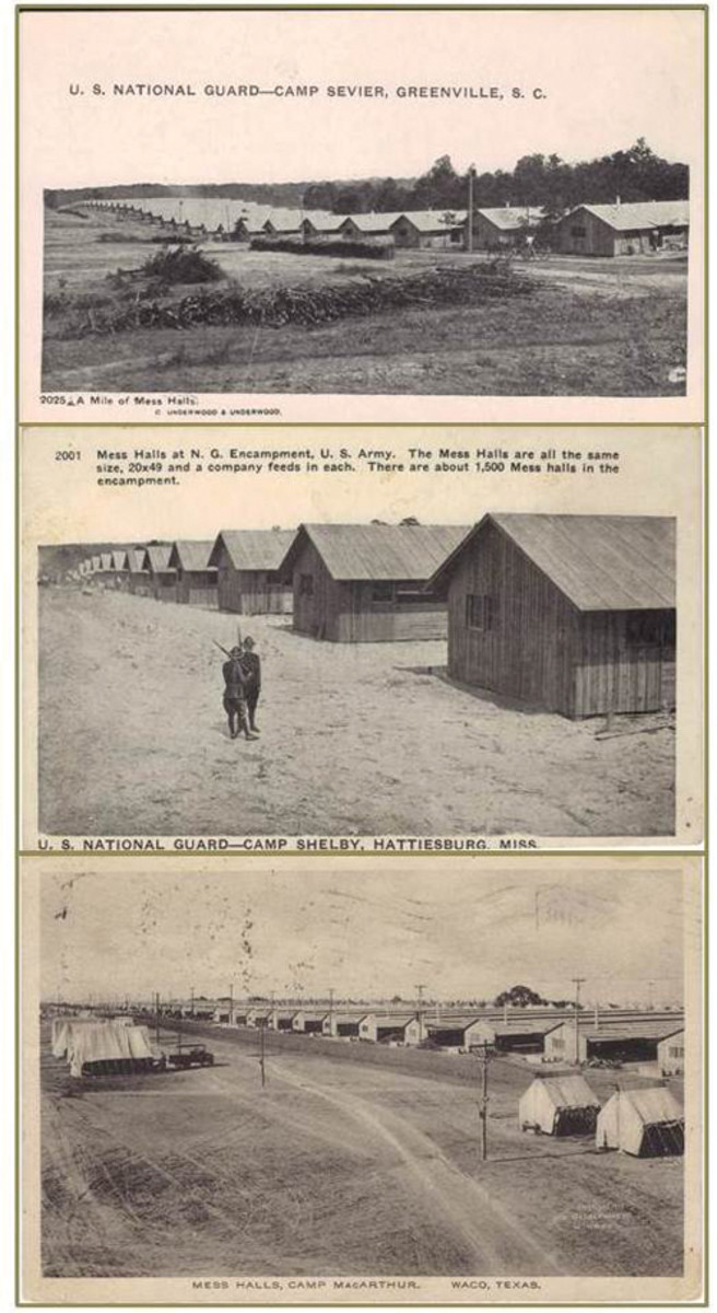 Probably nothing in their daily training schedule interested the Doughboys nearly as much as their meal time. Seen here are mess hall postcards representing 3 different camps.
