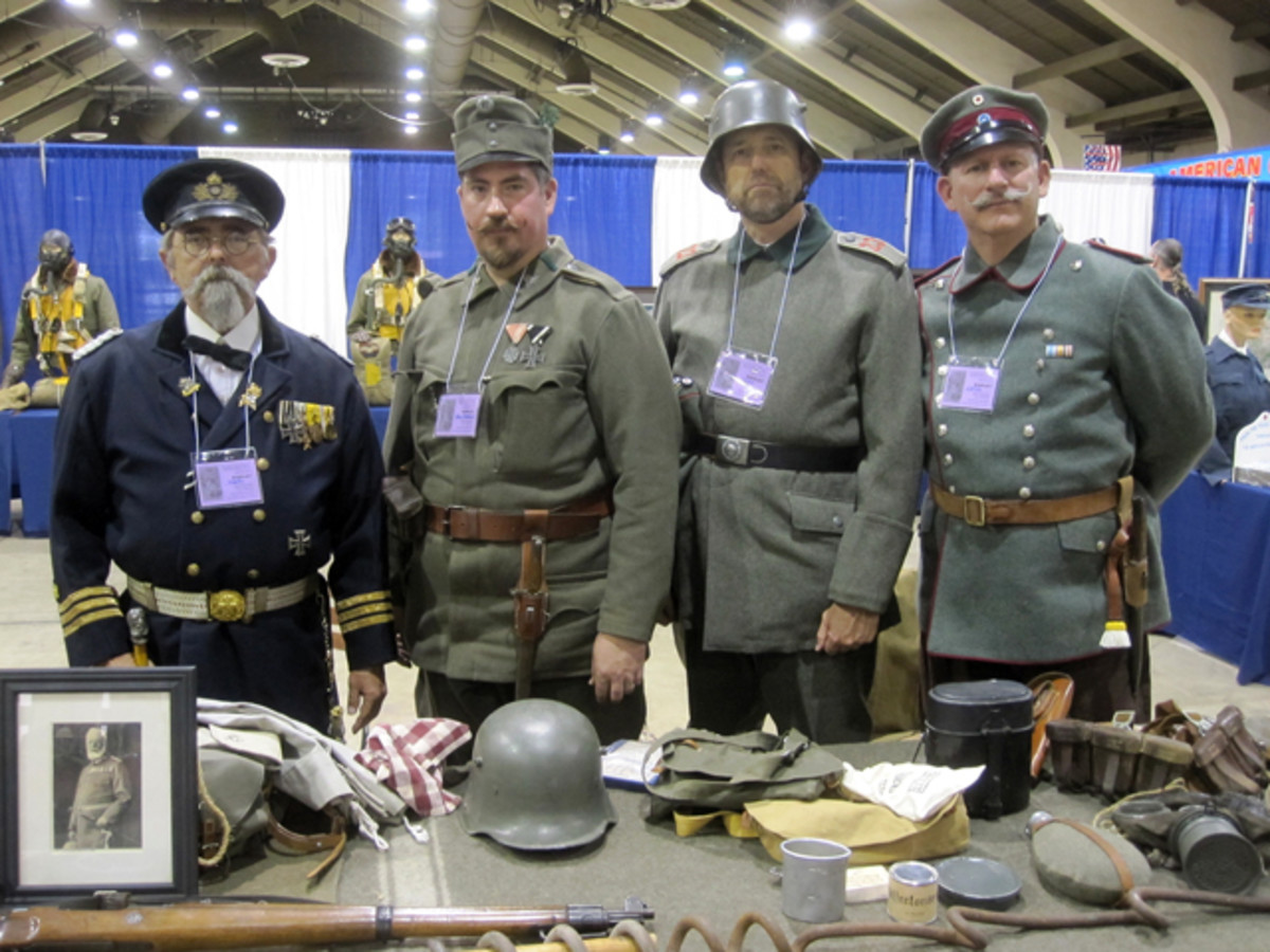 Members of the 2nd Chevauleger Regiment, part of the Great War historical Society in German WWI period dress, from left to right: Mark Weller, Adam Matthews, Parks Stephenson and Adam Lid. This group put out a large display that provided the curious onlooker an interesting amount of period weapons, equipment and information regarding the German unit during the WWI period.