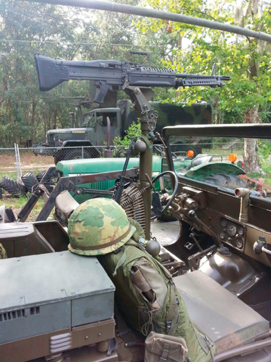 """This replica M60 from International Replica Arms Corporation adds something to this Jeep. It looks ready to roll into """"enemy territory!"""" Photo courtesy of James Crawford / IRAC"""