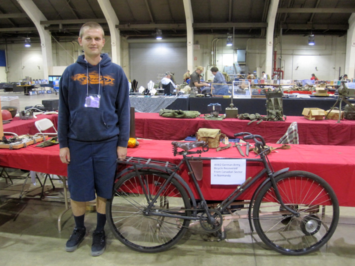 Fort Mac Arthur's Chris Simich made a unique contribution to the show with his WWII German bicycle. Mr. Simich personally resurrected this bicycle and one other that sold for $900. From a rusting hulk, the bicycles were restored to a working piece of period transportation with parts imported from the actual original war time manufacturer.