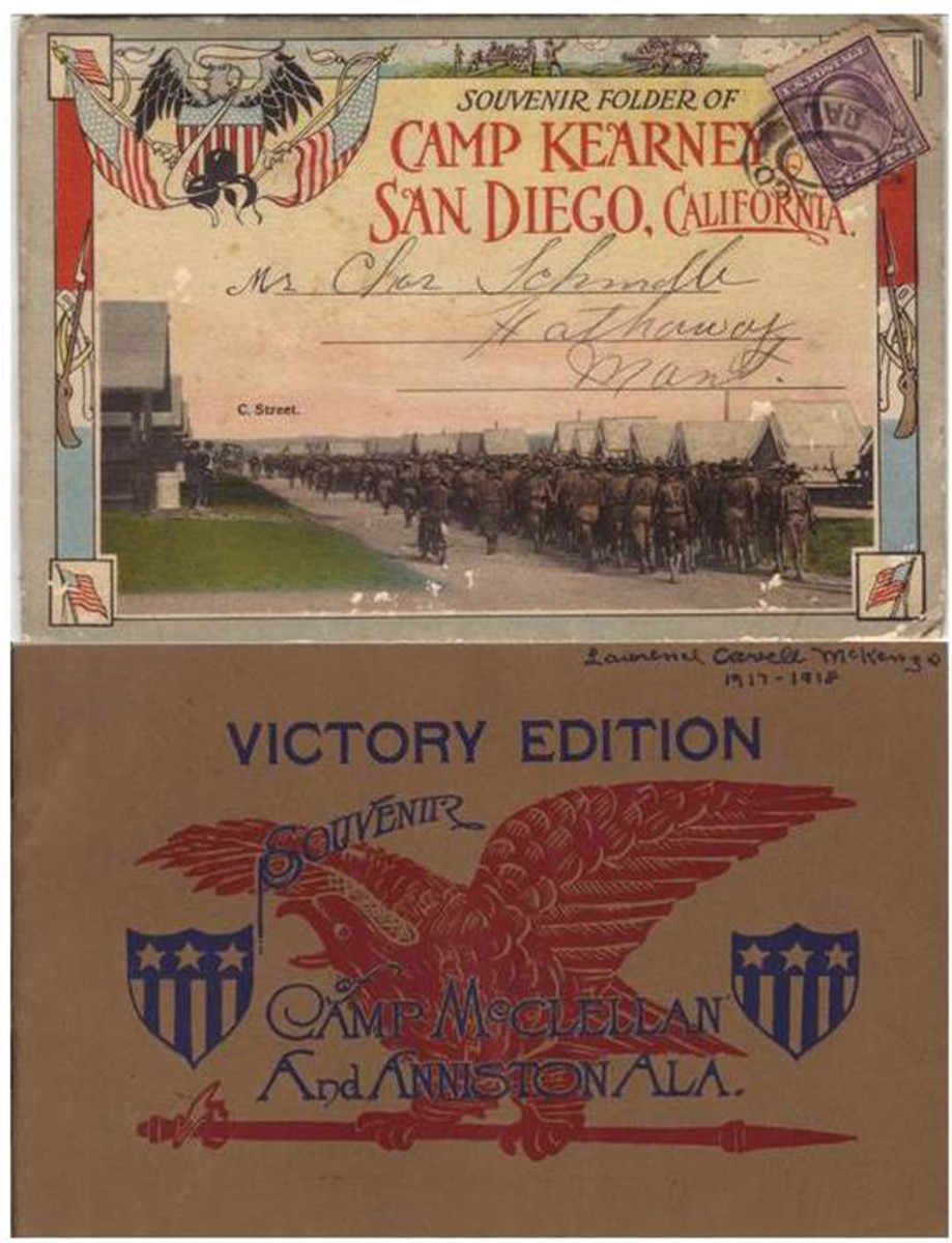 Typically, each camp produced souvenirs of many kinds for the troops to send home to their families. Here are two pamphlets from Camp Kearny in California and Camp McClellan in Alabama.