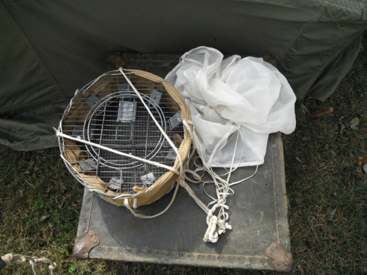 This specially designed cage allowed four birds to be safely dropped where needed. As long as the pilot followed procedures, the birds could safely reach their destination.