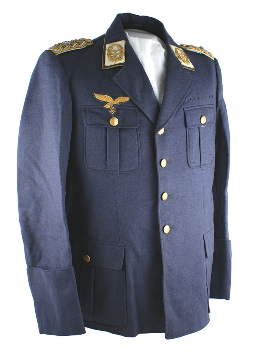 "Uniform lot pertaining to German World War II Luftwaffe Lt. Gen. Josef Schmid, with his ""Soldbuch"" chronicling his Nazi career (minimum bid: $15,000)."