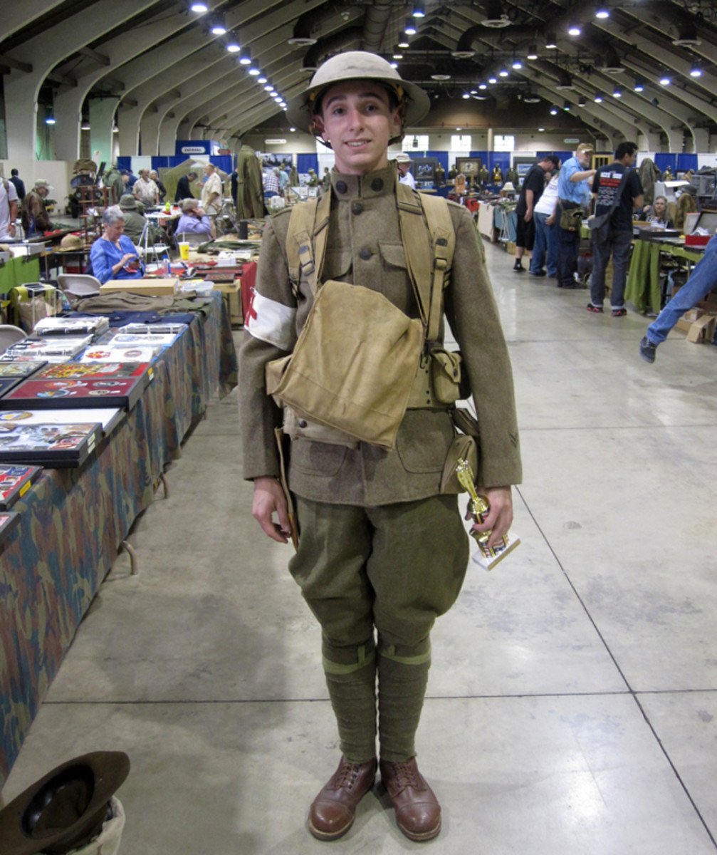 Jack Siegel, one of the awardees of the costume contest in his impression of a fully equipped enlisted medic of the 364th Regiment, 91st infantry Division during WWI.