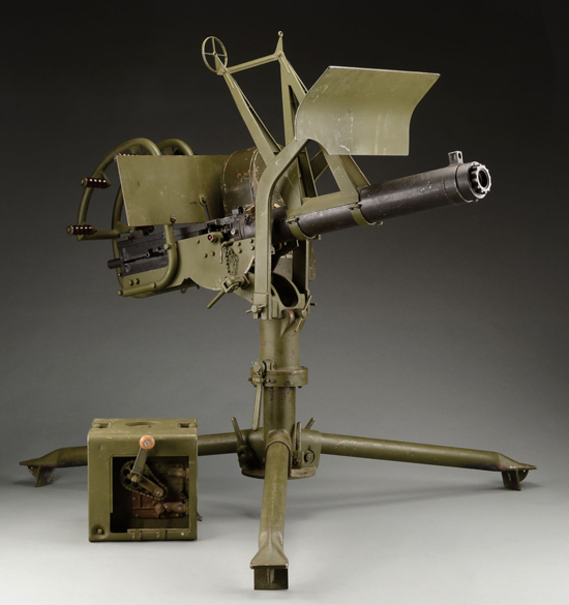 "Lot 2682 WW-II Era GM-Frigidaire Browning .50 cal Water Cooled Machine Gun on ""Tora-Tora"" Mount. Formerly on loan to Evergreen Aviation & Space Museum."