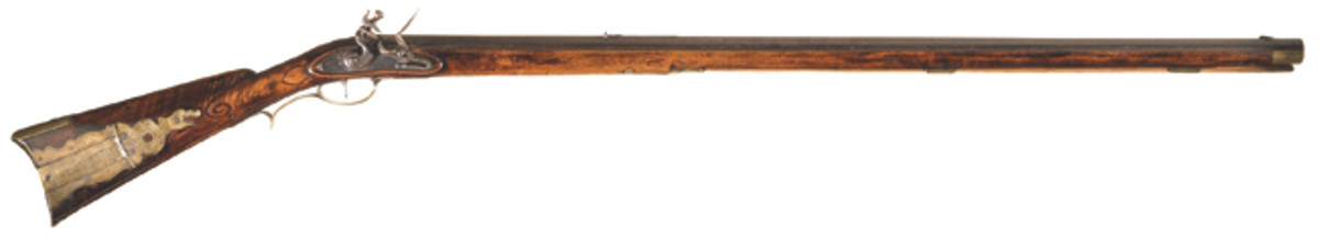 LOT129 - Scarce Jacob Dickert Lancaster Flintlock Long Rifle with Unique Rattlesnake Patch Box