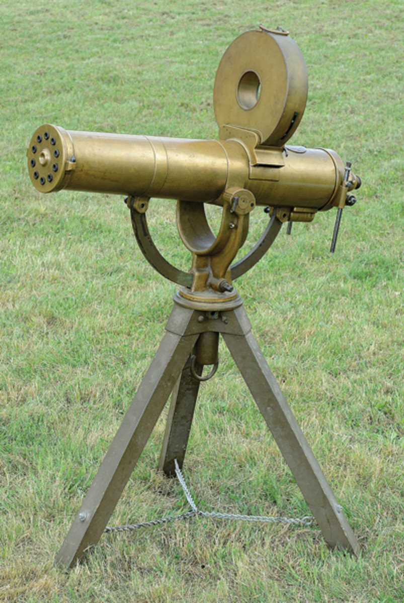 Lot 2065 Colt Model 1883 US Navy Gatling Gun on tripod in Cal. 45/70. Very fine condition.