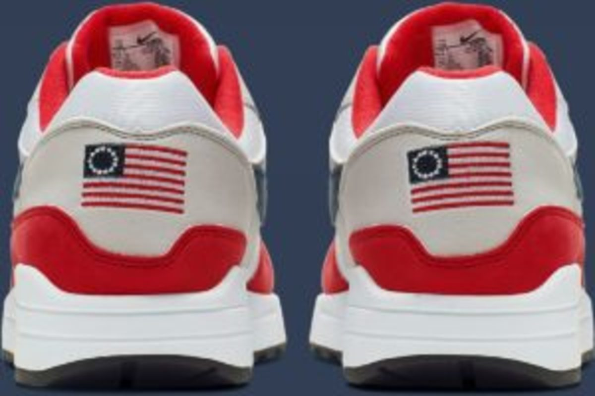 "Nike reportedly pulled the Air Max 1 Quick Strike Fourth of July after spokesperson Colin Kaepernick expressed concern about its imagery. His concern wasn't about the obvious violation of US Code, Title 4, Section 8(i):""The flag should never be used for advertising purposes in any manner whatsoever. It should not be embroidered on such articles as cushions or handkerchiefs and the like, printed or otherwise impressed on paper napkins or boxes or anything that is designed for temporary use and discard. """
