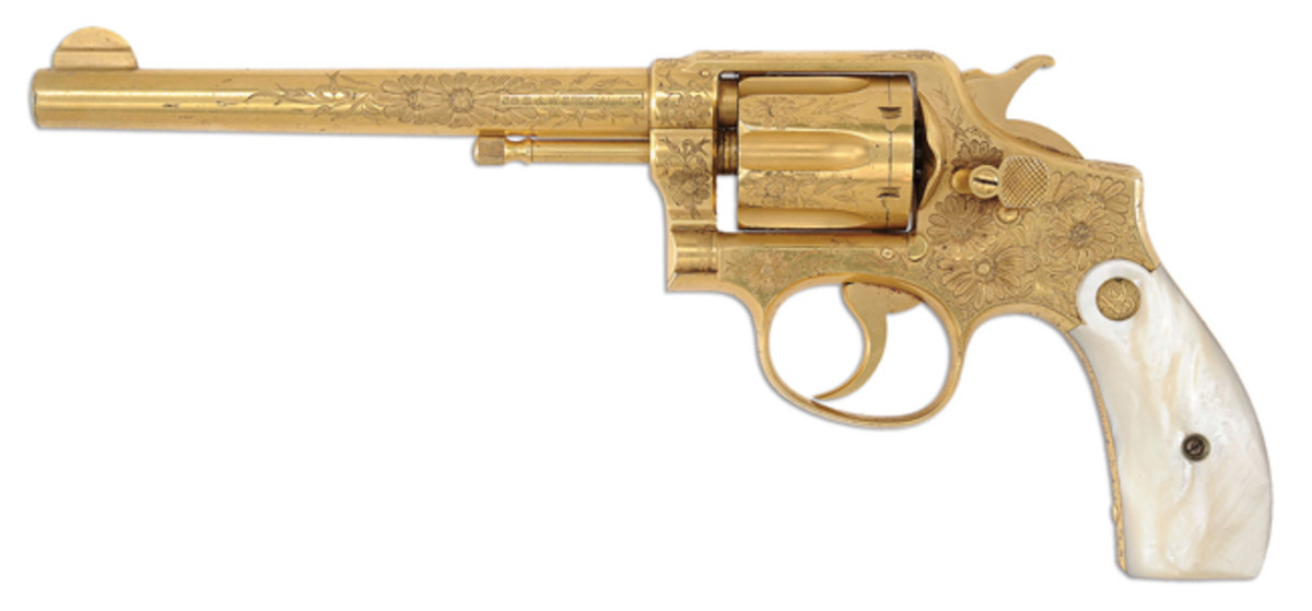 Lot 1748 A factory engraved and gold plated Smith & Wesson 38 Hand Ejector 1st Model DA Revolver for the Pan-American Expo, Buffalo, NY 1901.