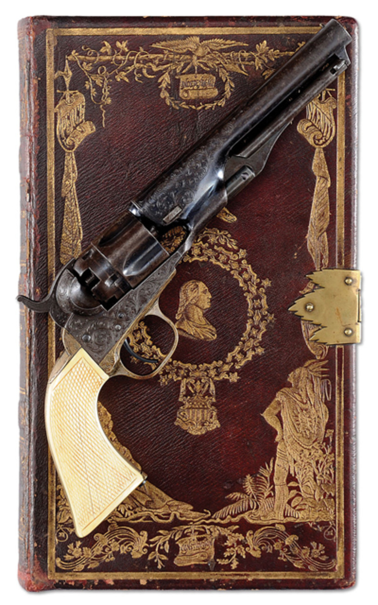 Lot 2109A Engraved Colt Model 1862 Police with exceedingly rare Bookcase binding.