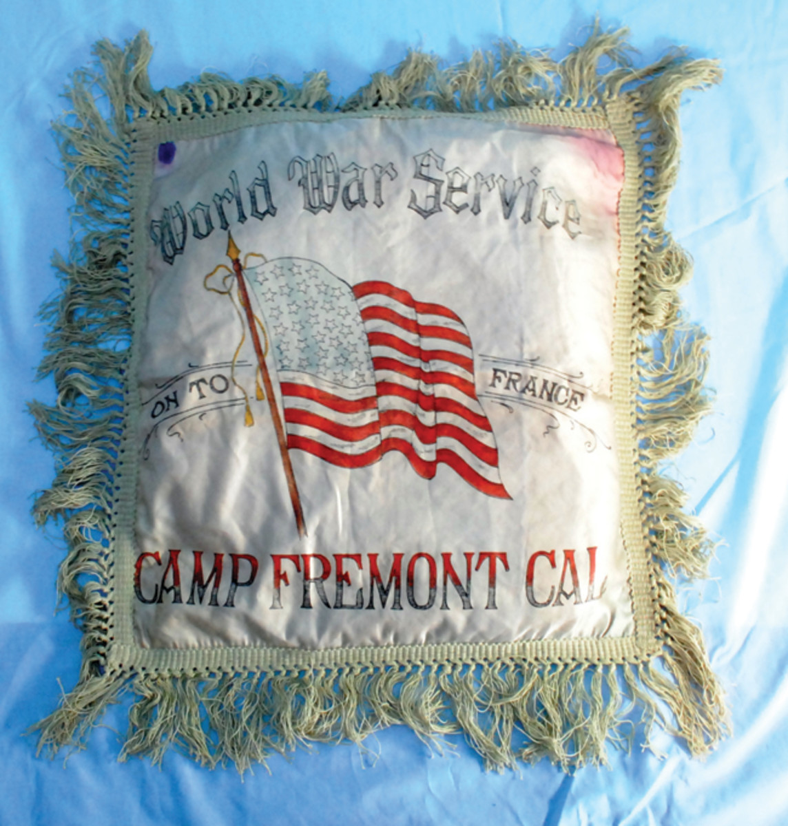 Camp Fremont in Palo Alto, California, was a troubled camp from the very beginning with sewage and size problems. It was even shorter lived than most of the other training camps and so finding items such as this pillowcase may prove a challenge.