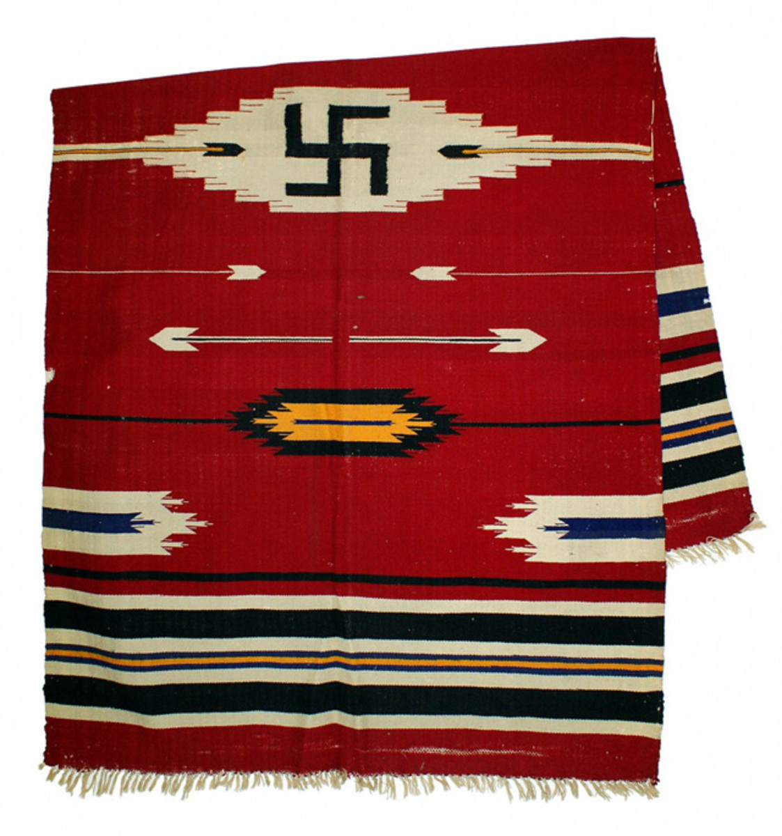Navajo blanket made in the second half of the 19th century and measuring 39 inches by 64 inches, red weaving with a swastika graphic (minimum bid: $500).