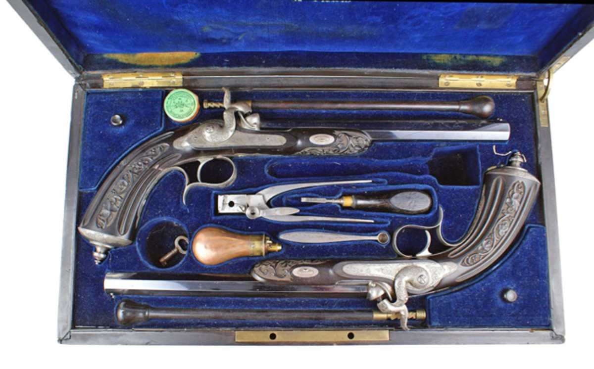 Exquisite set of circa 1840-1850 cased percussion pistols, presented to prominent French official Jacques Louis Randon (minimum bid: $7,000).