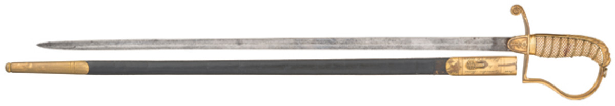 """LOT3083 - Historic Dual Presentation War of 1812 British HMS Guerriere Sword Surrendered Aboard The U.S.S Constitution """"Old Iron Sides"""" and Later Presented and Inscribed to Edward Z.C. Judson A.K.A. Famed Wild West Dime Novelist Ned Buntline and Formerly Displayed at the U.S. Naval Academy Museum"""