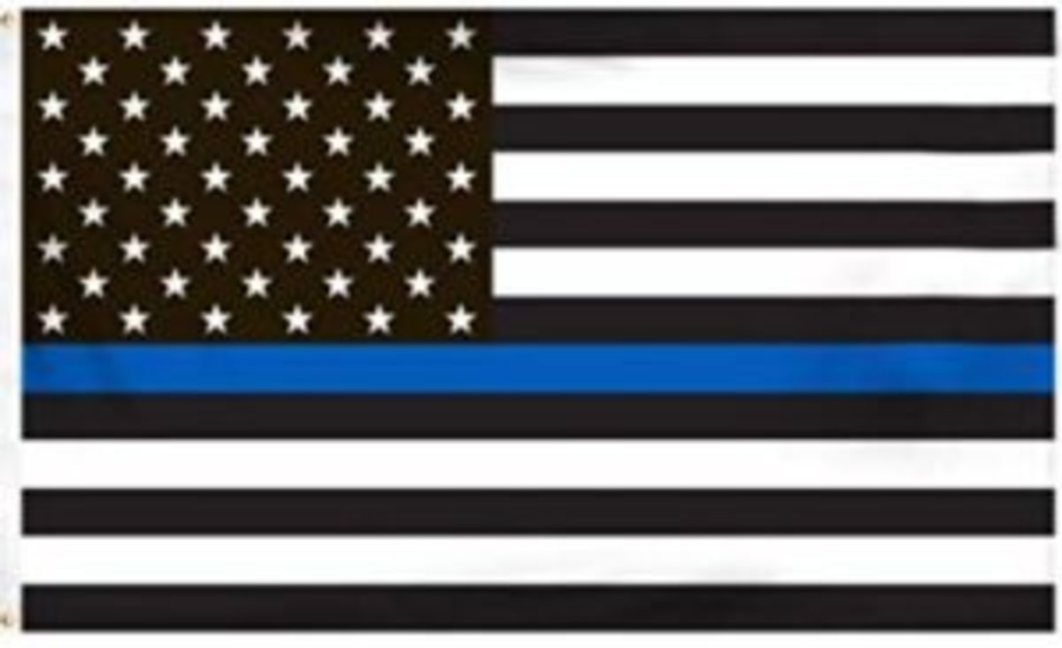 "Here's one that makes a person scratch their head. The intent of the ""Thin Blue Line"" flag is to honor police personnel. Some consider this adaptation of the flag as a violation of US Code, 4, section 8(g):""The flag should never have placed upon it, nor on any part of it, nor attached to it any mark, insignia, letter, word, figure, design, picture, or drawing of any nature."""