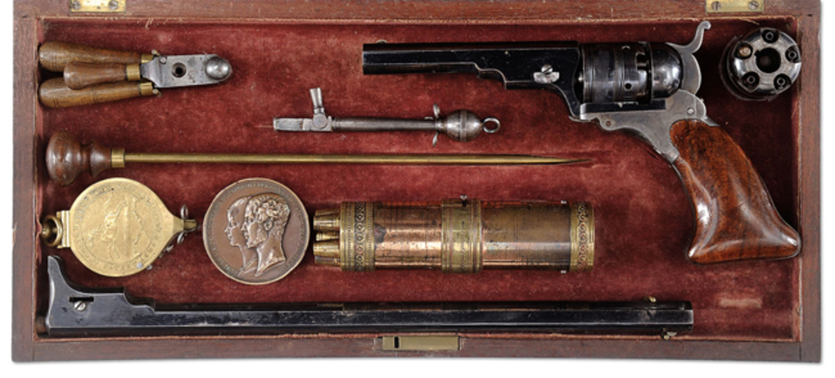 Lot 2143 A cased Patterson #3 with matching 12 in. barrel. Once the royal property of the Duke of Orleans, son of King Louis Philip I and heir to the French throne.