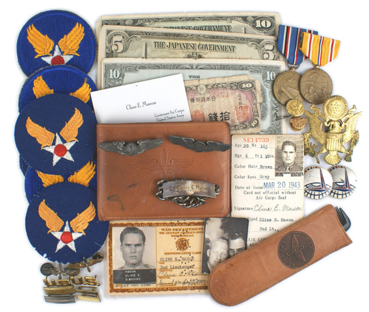 Items pertaining to 1st LT. Cline E. Mason, who served with the Army Air Force in the CBI Theater of Operations, to include his full uniform and leather jacket (minimum bid: $2,000).