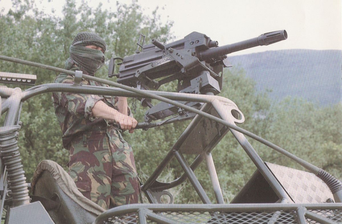 The Mk 19 40mm calibre Automatic Grenade Launcher mounted on the Saker.