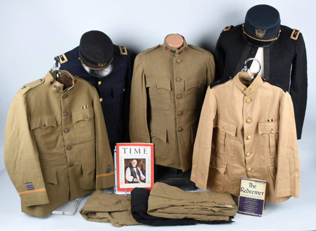 Group lot consisting of Spanish American War and World War I uniforms and mementos of Bishop James DeWolf Perry (1871-1947), plus related ephemera.