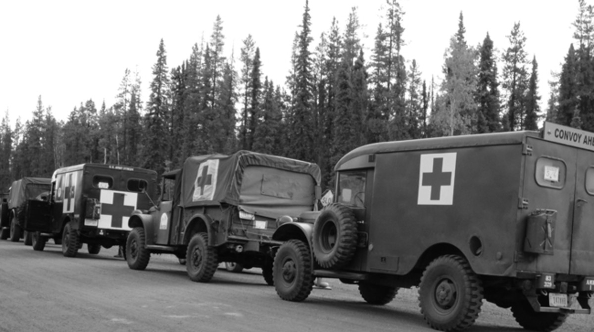 A line of medical vehicles in the 2012 MVPA Convoy included Dave's M43 (right) and Dr. John Laws' M37. Dr Laws was the medical officer for the 2012 convoy.