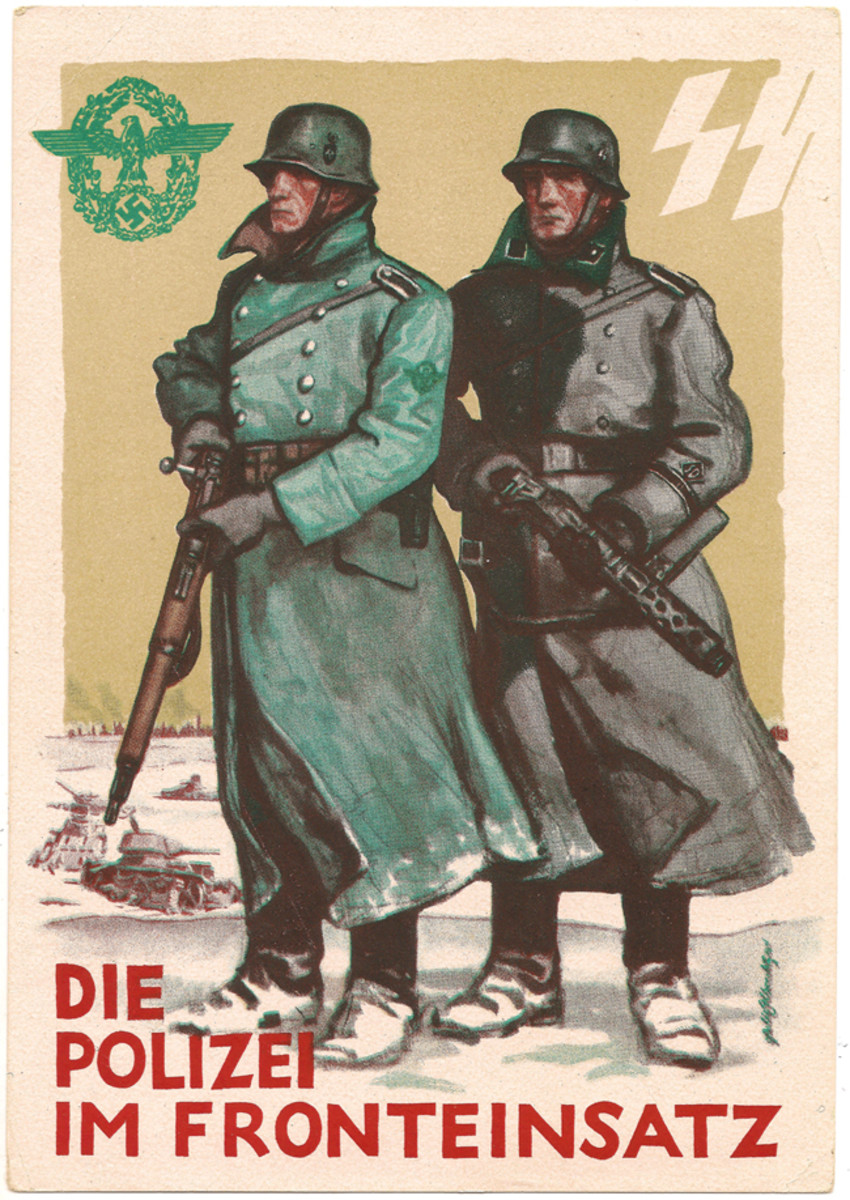 The police and SS were honored in this colorful postcard.