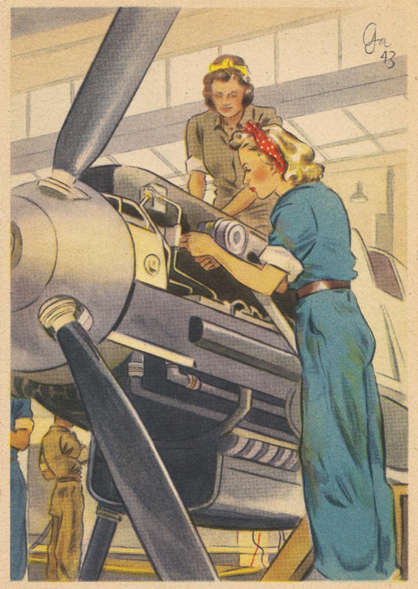 """German war time industry also had their """"Rosie the Riveter""""."""