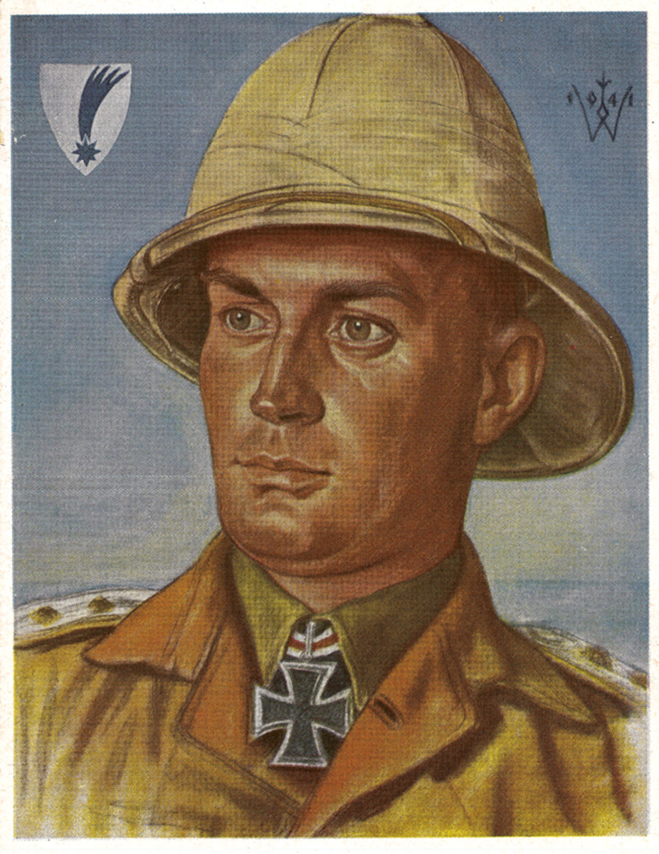 All theatres of war were represented on post cards, including this Africa Corps knight's cross winner.