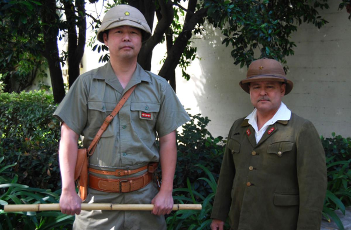 Two very serious looking Japanese World War II re-enactors.