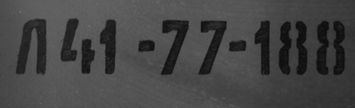 """This line indicates the Lot number: """"Л54,"""" while the middle number is the year, in this case """"77"""" as in 1977 and the final number """"188"""" is the factory. That factory is Novosibirsk (or Новосибирск)."""