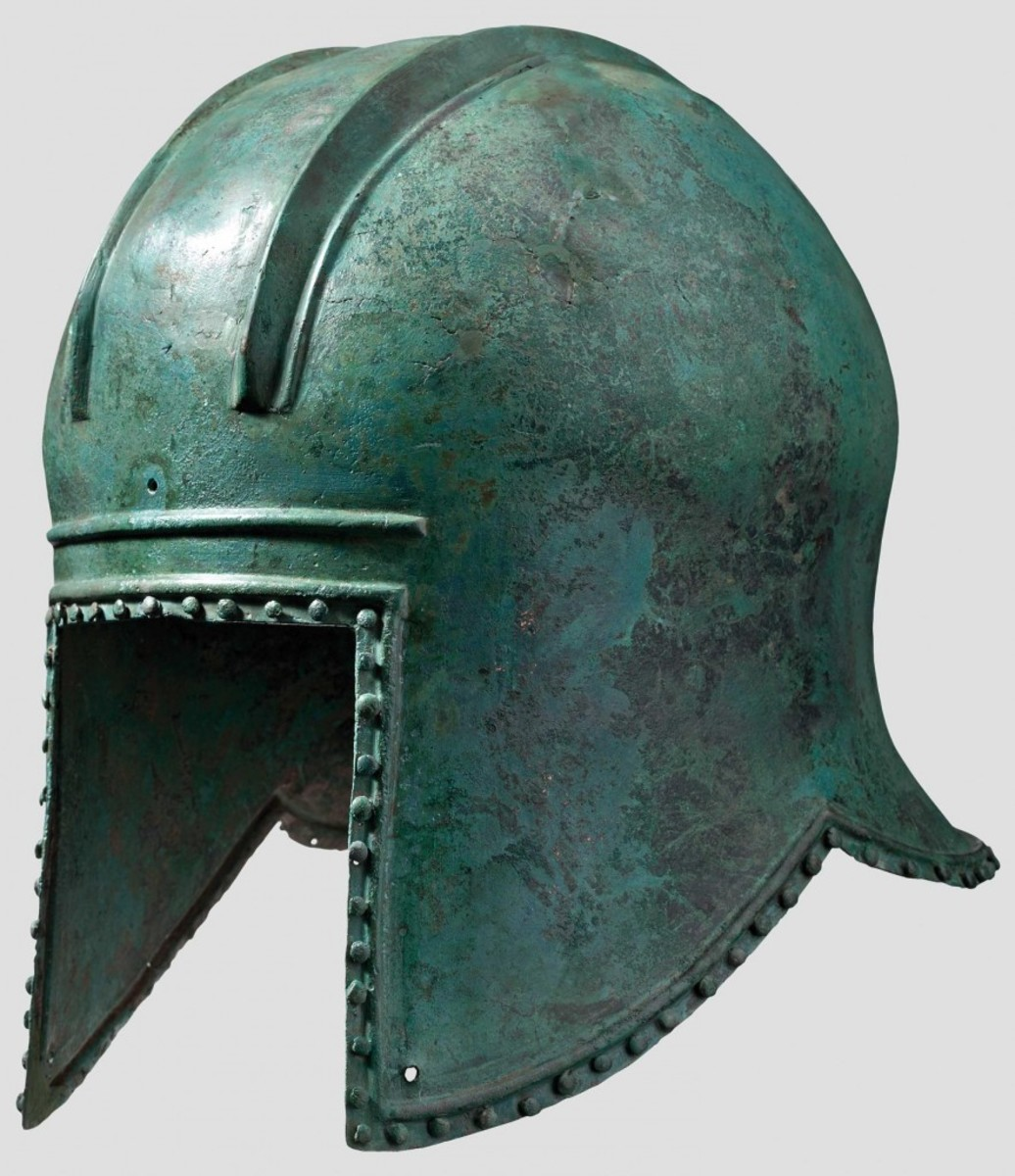 An Illyrian helmet, 6th century BC. Bronze with light green patina.