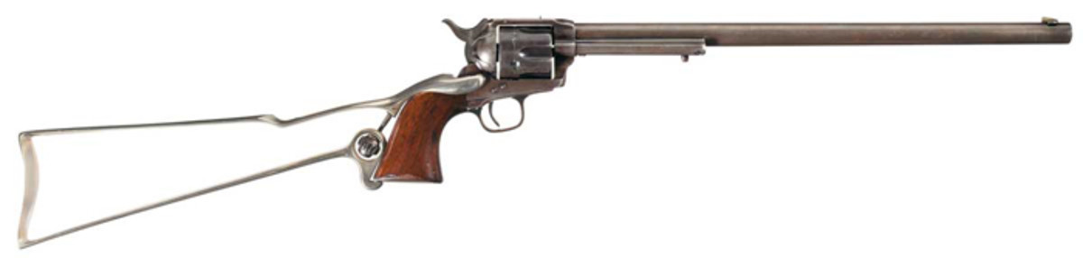 "16 Inch Colt ""Buntline Special"" Single Action Army Revolver with Skeletal Shoulder Stock with Factory Letter and Extensive Documentation ($546,250)"
