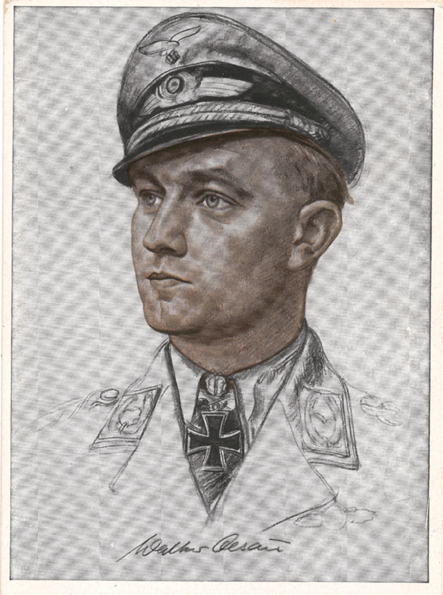 Luftwaffe pilots who achieved the distinction of becoming an ace were often pictured on patriotic postcards.