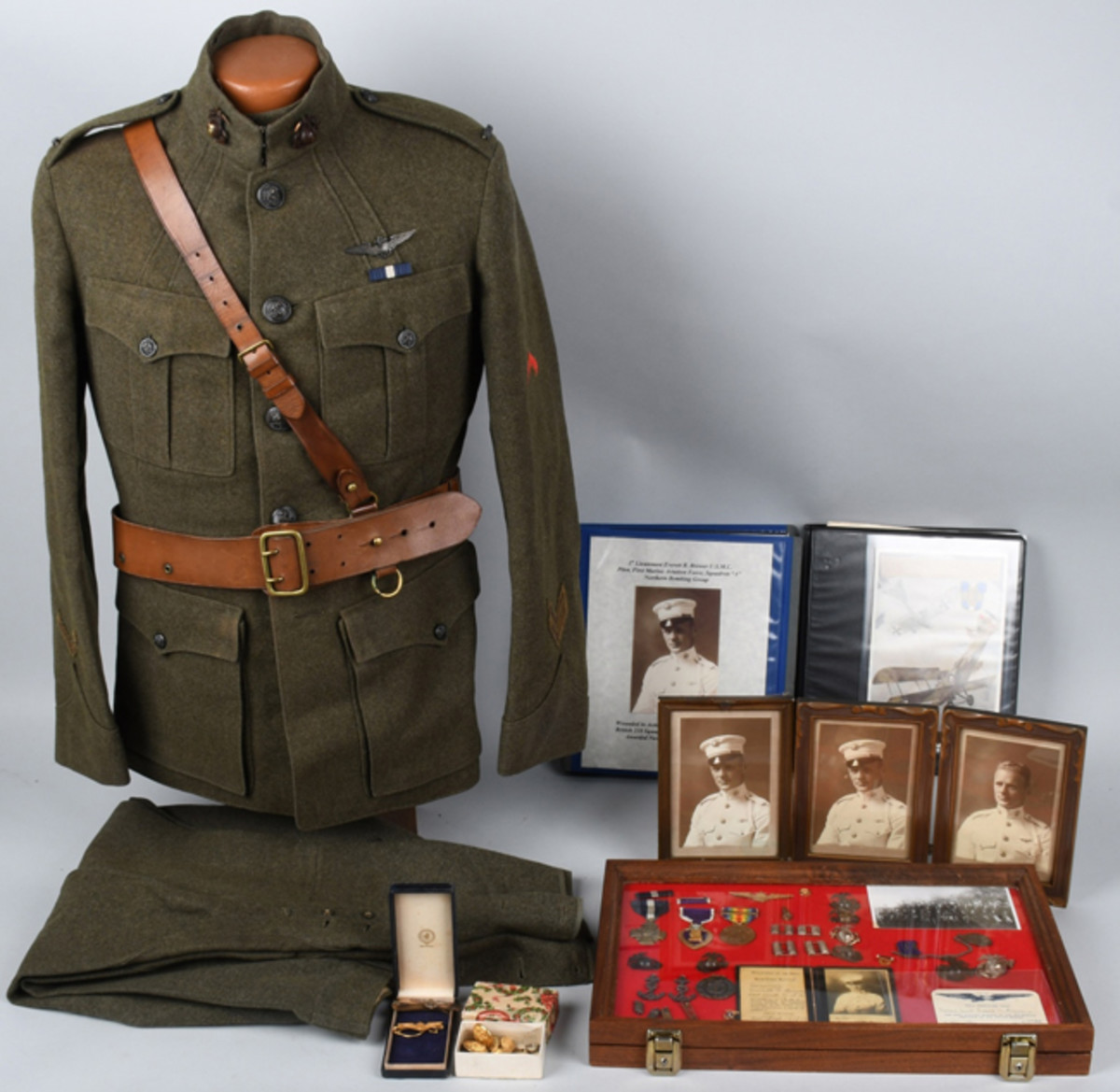 Uniform, medals and extensive career archive of WWI U.S. Marine Corps pilot Everitt R. Brewer, the first USMC pilot to score an aerial kill in France.