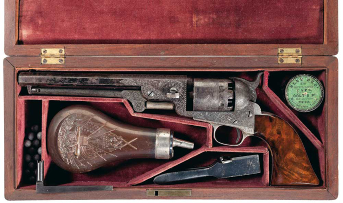 Colonel Samuel Colt Presentation Deluxe Engraved, Cased, Model 1851 Navy Revolver Given To Captain J.J. Comstock, Gustave Young Deluxe Engraved ($276,000).