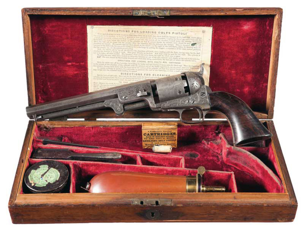 Cased Exhibition Quality Engraved Colt Model 1851 Navy Revolver of London Manufacture Presented To Commodore Cornelius Vanderbilt By Colonel Colt ($109,250)