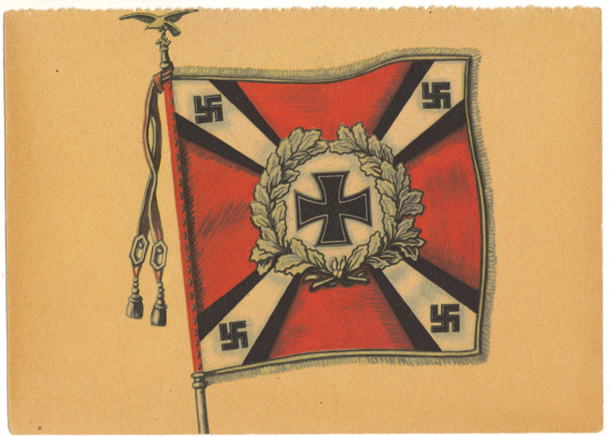 German veterans' groups produced postcards to sell, such as this example, honoring the flag of the Luftwaffe Flak artillery.