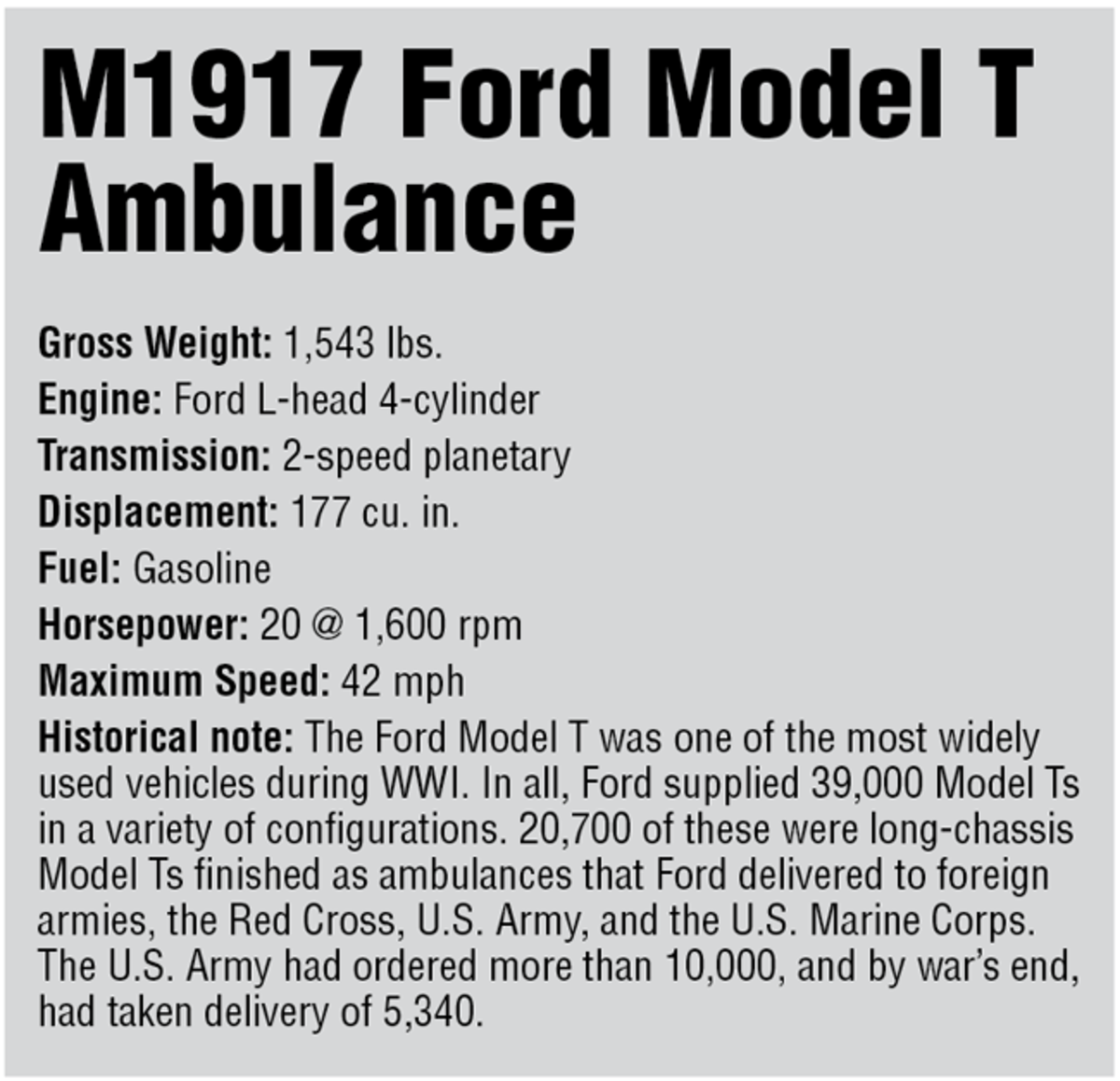 Specifications for Ford Model T Ambulance