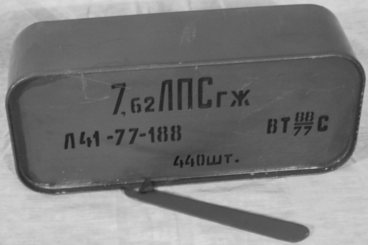 This code explains that this tin contains 7.62x54mmR ammo, Light ball bullet with mild steel core, steel clad with gilding metal.