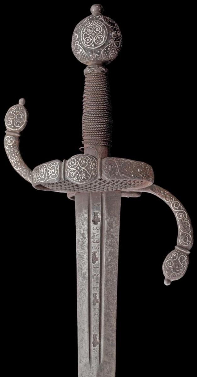 A German silver-inlaid campaign sword, circa 1630/40.