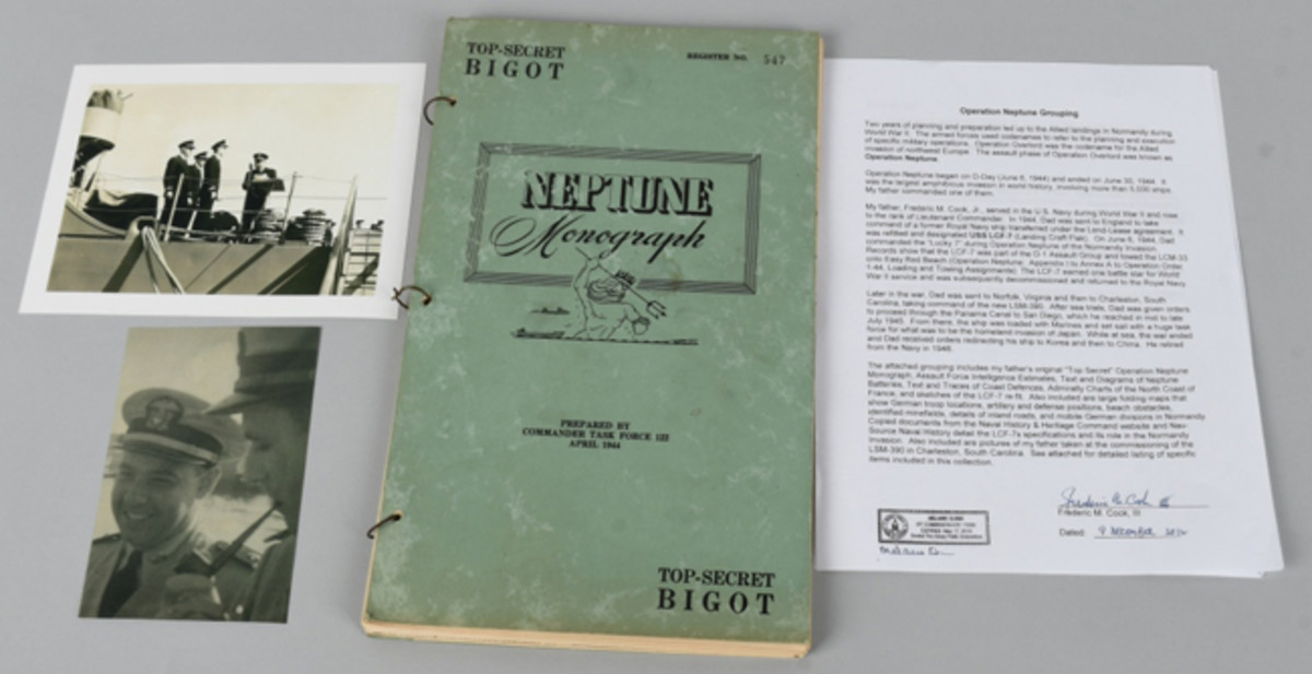 One of 11 consecutive lots containing folios of maps, photos, operational orders, diagrams, and ephemera pertaining to WWII D-Day Operation Neptune, originally the property of Commander Frederick M. Cook USN, who had ultra-top-secret clearance.